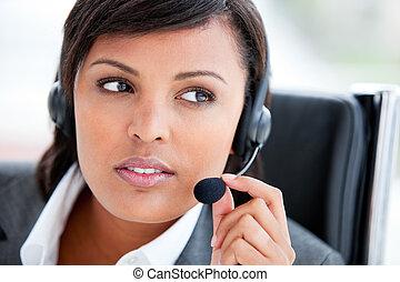 美麗, 肖像, 代理, 工作, 顧客服務