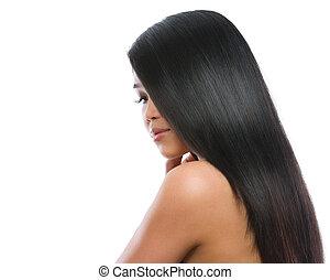 美麗, 肖像, ......的, 亞洲人, 黑發淺黑膚色女子, 女孩, 光滑, 長, 直的頭發, 被隔离, 在懷特上