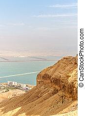 美麗, 自然, 看法, 從, 沙漠, 上, 石頭, 山, 以及, 死海
