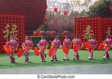 美麗, 舞蹈家, 在, 傳統, 服裝