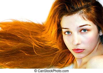 美麗, 色情, 年輕婦女, 由于, 長的頭髮麤毛交織物