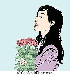 美麗, 花束, 花, 黑發淺黑膚色女子, 玫瑰