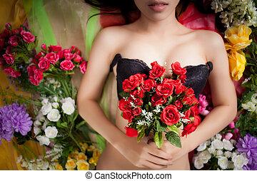 美麗, 花, 上, 女性, 性感, 身體