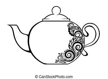 美麗, 茶壺, 裝飾, 由于, 黑色 和 白色, 植物, ornament., 很多, similarities, 到,...