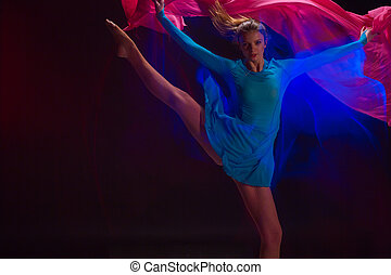美麗, 藍色, 婦女, 藝術, 跳舞, photo-emotional