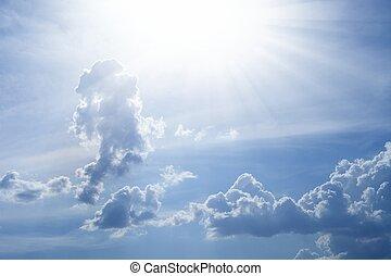 美麗, 藍色, 明亮的天空, 太陽