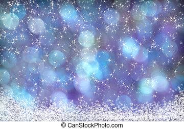 美麗, 藍色, 紫色, 液體, 背景, 雪, 星