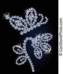 美麗, 蝴蝶, 鑽石, 花