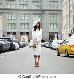 美麗, 設計師, 年輕, 時髦, 模型, 衣服