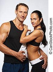 美麗, 運動, 夫婦, 以後, training.