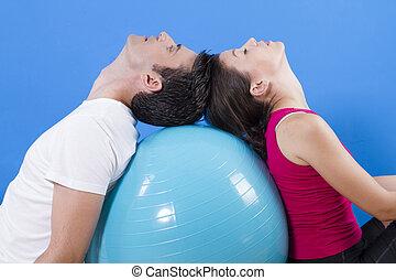 美麗, 運動, 夫婦, 由于, 健身, ball.