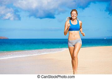 美麗, 運動, 婦女跑, 在海灘上
