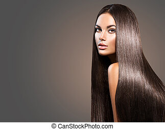 美麗, 長, hair., 美麗, 婦女, 由于, 直接, 布萊克頭發, 上, 黑的背景