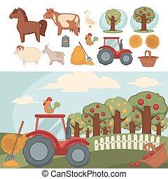 美麗, 集合, 動物, 花園, 大農場, 水果