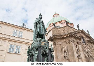 美麗, 雕像, 在, 布拉格