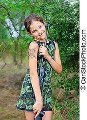 美麗, 青少年的 女孩, 上, 自然
