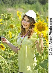 美麗, 青少年的 女孩, 以及, 向日葵