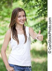 美麗, 青少年的 女孩, 在公園, 由于, headphones.