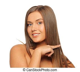 美麗, 頭髮, 婦女, 触, 她