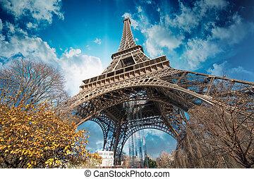 美麗, 顏色, ......的, 埃菲爾鐵塔, 以及, 巴黎, 天空
