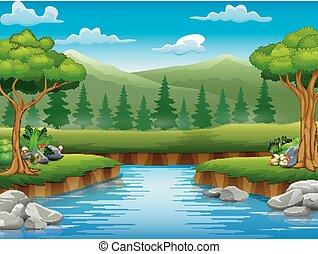 美麗, 風景, 自然, 中間, 卡通畫, 河