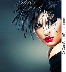 美麗, 風格, 時裝, 藝術, girl., 婦女肖像, 時髦