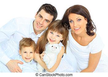 美麗, 高興的家庭, -, 被隔离, 在上方, a, 白色 背景