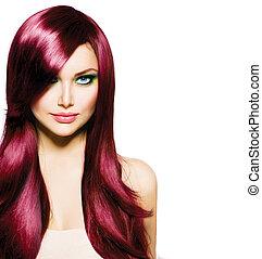 美麗, 黑發淺黑膚色女子, 女孩, 由于, 健康, 長的頭髮麤毛交織物, 以及藍色, 眼睛