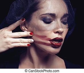 美麗, 黑發淺黑膚色女子, 婦女, 在下面, 黑色, 面紗, 由于, 紅色, 修指甲, 關閉