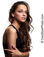 美麗, 黑發淺黑膚色女子, 婦女, 由于, 卷曲的頭髮麤毛交織物