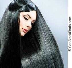 美麗, 黑發淺黑膚色女子, 直接, 長, hair., 女孩