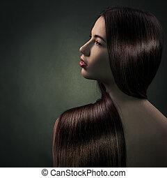 美麗, 黑發淺黑膚色女子, girl., 健康, 長的頭髮麤毛交織物