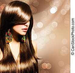 美麗, 黑發淺黑膚色女子, girl., 健康, 長的 棕色 頭髮