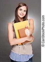 美麗, 黑發淺黑膚色女子, student.