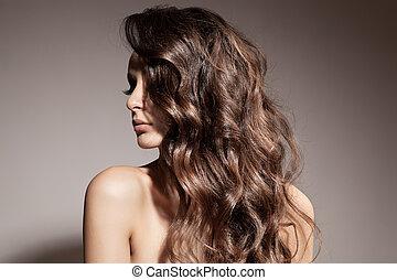 美麗, 黑發淺黑膚色女子, woman., 卷曲, 長, hair.