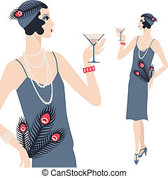 美麗, 1920s, 年輕, retro, 女孩, style.