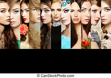 美麗, collage., 臉, ......的, 婦女