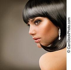 美麗, girl., haircut., 黑發淺黑膚色女子, 發型