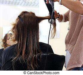 美麗, hairstyle., 美容師, 沙龍