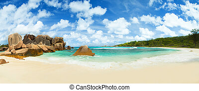 美麗, la, 塞舌爾群島, 海灘, digue