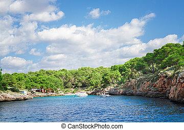 美麗, majorca, 島, 海灣, 海, water., 天藍色, 海灘, 西班牙