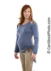 美麗, redhead, 婦女, 時裝, 怀孕