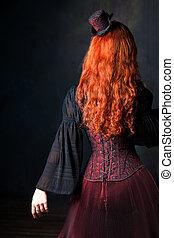 美麗, steampunk, 婦女, back., 苗條, 紅色毛發的, 女孩, 在, 婦女緊身胸衣, 以及, 帽子