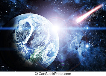 美麗, sunriece, 在, the, 紅的行星, 在, 空間