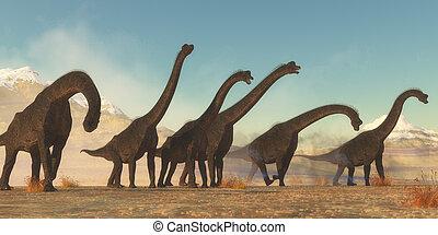 群れ, 恐竜, brachiosaurus
