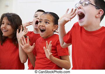 群をなしなさい, 子供, 劇, 楽しむ, クラス