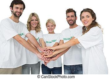 群をなしなさい, 手, 肖像画, ボランティア, 幸せ