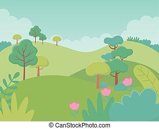 群葉, 丘, 花, 風景, イメージ, 木, 草木の栽培場, 自然
