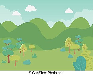 群葉, 風景, イメージ, 草木の栽培場, 木, 自然, 草, 山