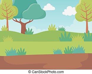 群葉, 風景, イメージ, 草木の栽培場, 木, 道, 自然, 草